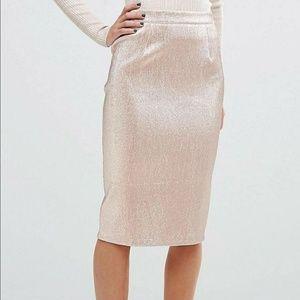 Pink shimmer pencil skirt